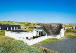 Ferienhaus mit Strohdach und Sauna, 100 m zum Strand