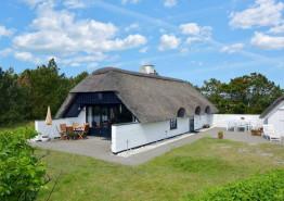 Hyggeligt feriehus med stråtag og skøn terrasse. Kat. nr.:  i6995, Hjelmevej 107;